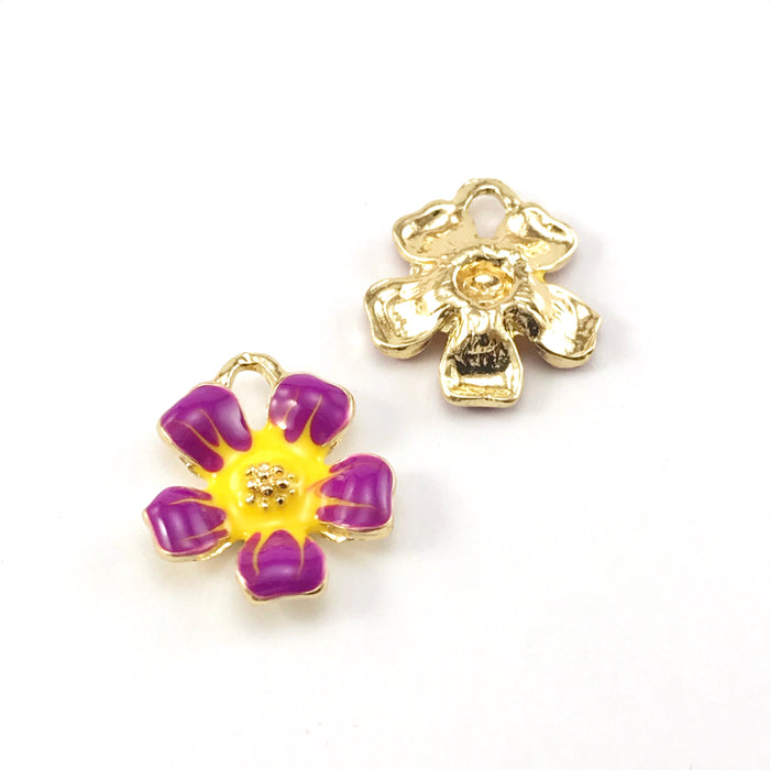 front and back of yellow, purple and gold colour jewerly charms shaped like flowers