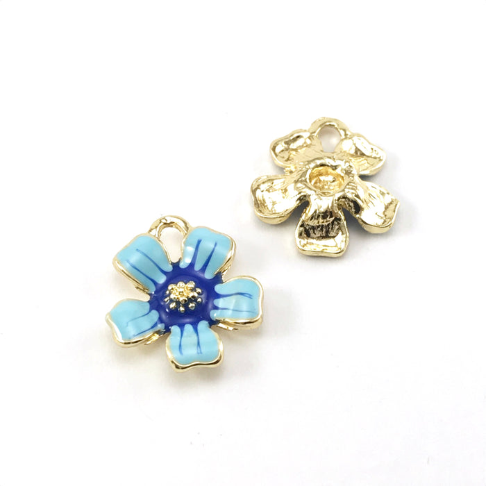 front and back of flower shaped jewelry charms that are gold, light blue and dark blue