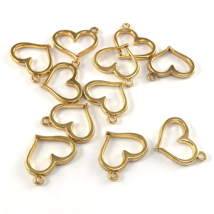 gold heart shaped jewerly charms