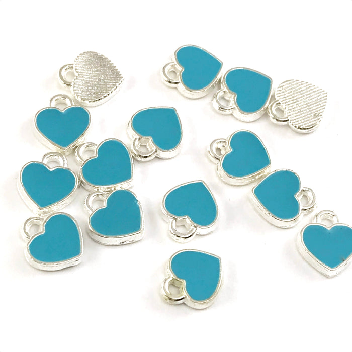 blue and silver heart shaped jewerly charms