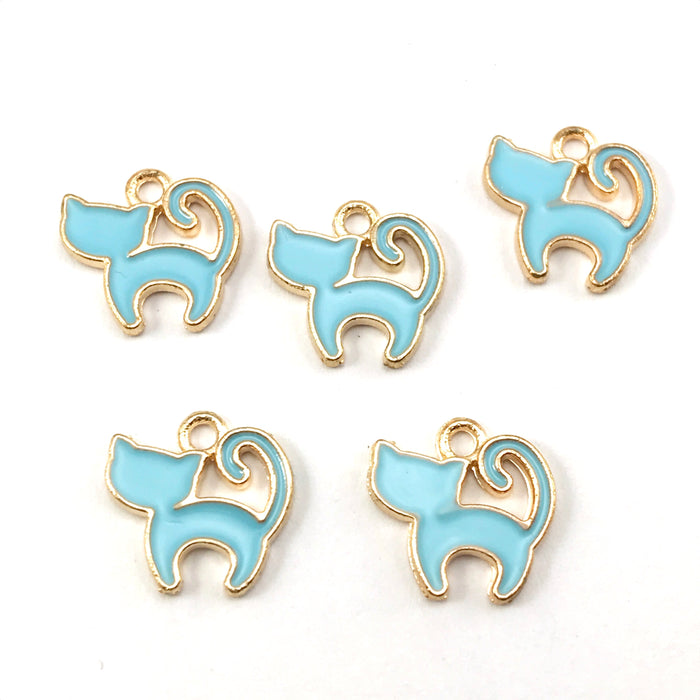 5 blue and gold colour jewerly charms that look like cats