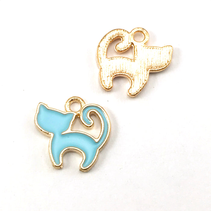 front and back of blue and gold colour jewerly charms that look like cats