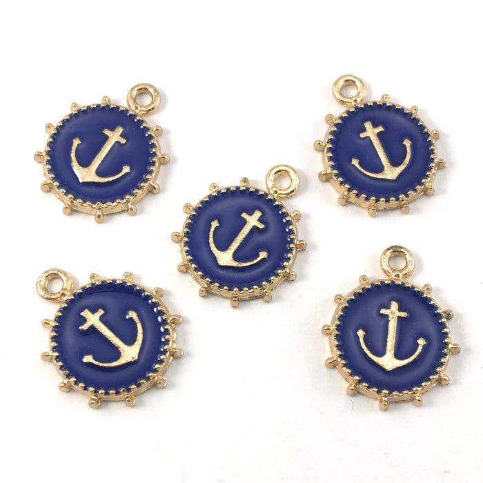 blue and gold colour round jewerly charms that have an anchor on them