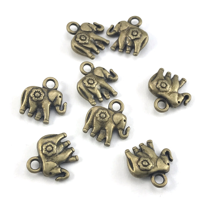bronze colour jewerly charms that look like elephants