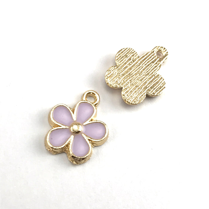 front and back of purple and gold colour jewerly charms that look like flowers