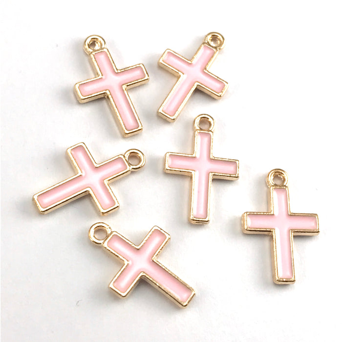 Enamel Pink Cross Charms For Jewelry Making, 16mm - 6 pack