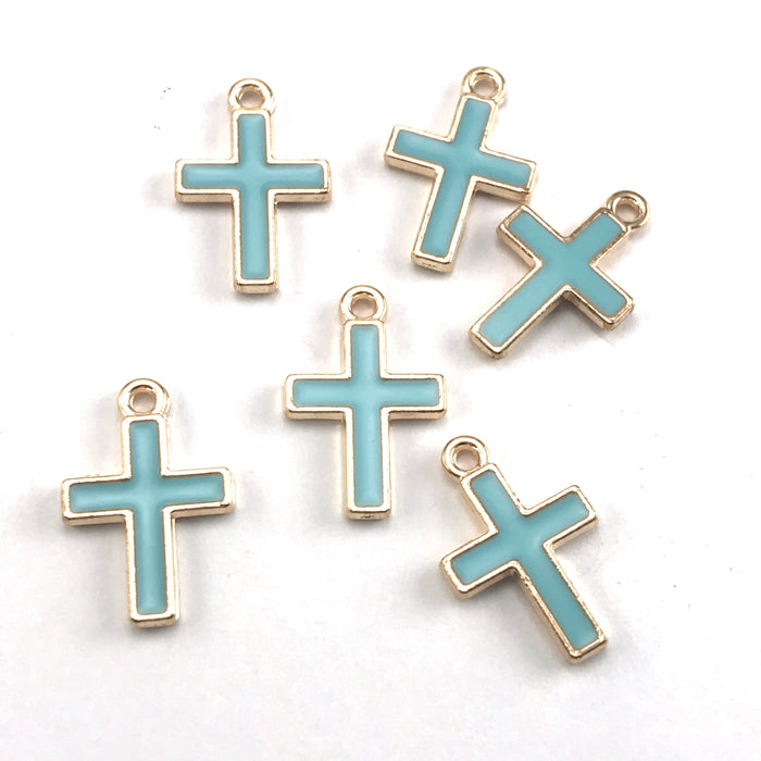 blue and gold cross shaped jewerly charms