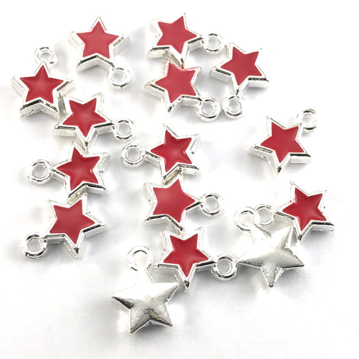Red Enamel Star Charms For Jewelry Making, 8mm - 15 pack