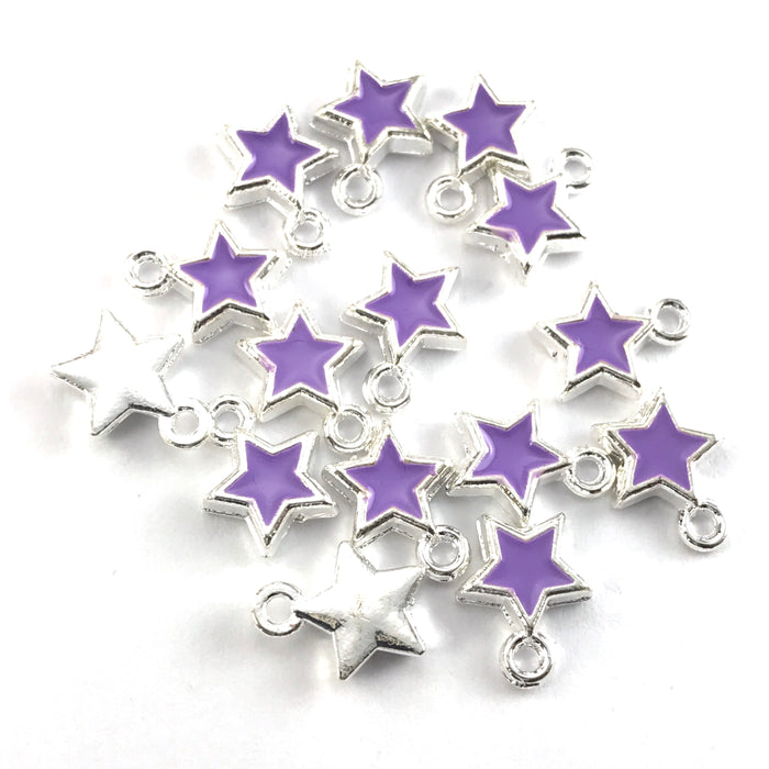 purple and silver star shaped jewerly charms
