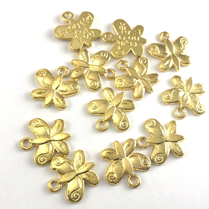 gold colour butterfly shaped jewerly charms