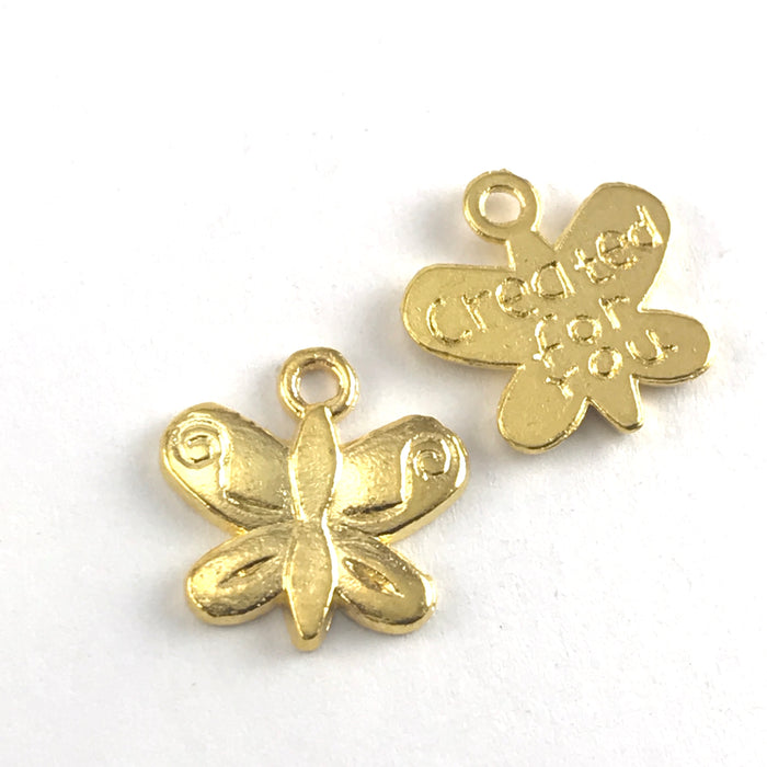 front and back of gold colour butterfly shaped jewerly charms