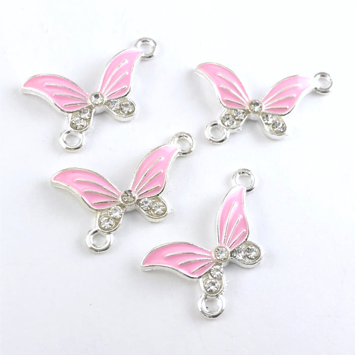 pink and silver butterfly shaped jewerly pendants