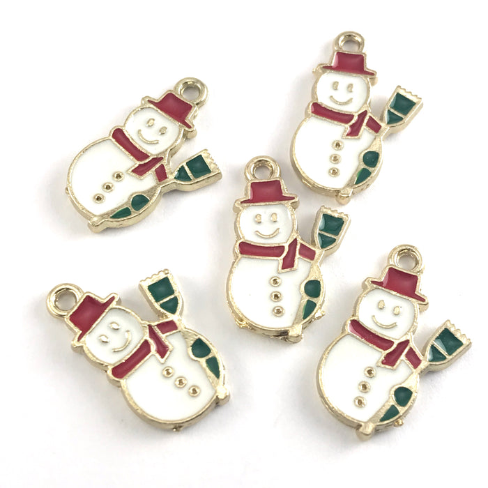 white red and green jewerly charms that look like snowmen