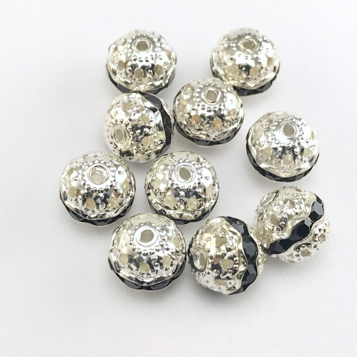 round silver beads with black rhinestones