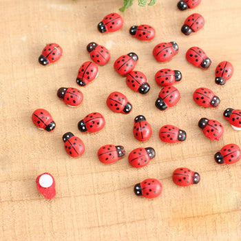 Red Mini Wooden Ladybugs - 10 pack