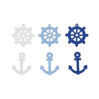 blue and white wooden buttons boat wheels and anchors