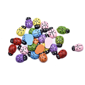 Mixed Colour Wood Ladybugs, 12mm - 25 Pack