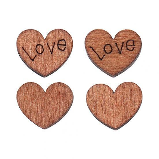 Heart Love Wood Pieces, 12mm - 30 Pack