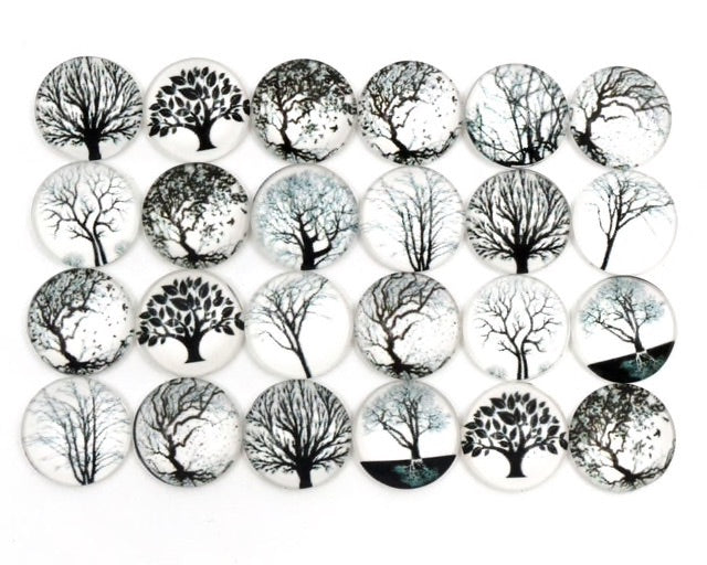 12mm Glass Cabochons Black And White Tree Photos - 10 Pack
