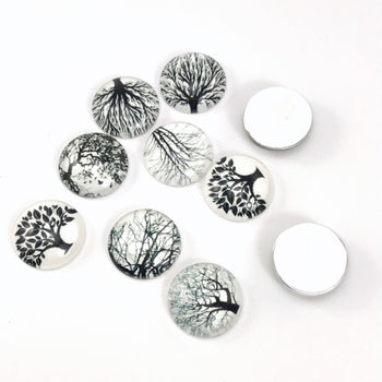 glass cabochons with photos of black and white trees