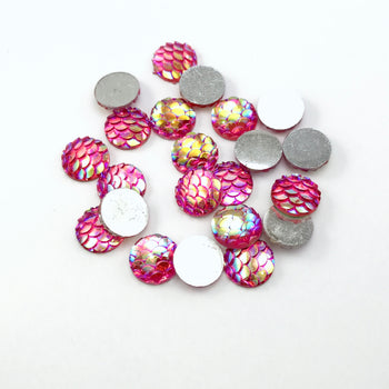 pink cabochons with fish scale look