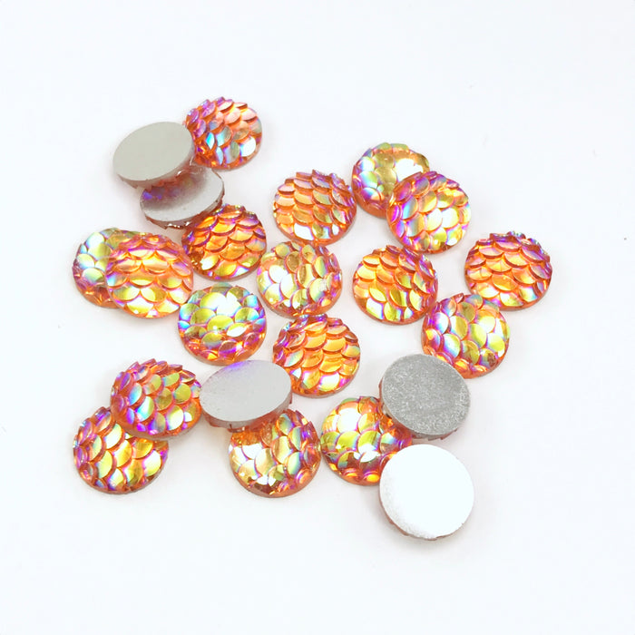 orange resin cabochons with fish scale look