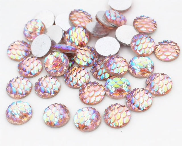 light peach color resin cabochons with fish scale look