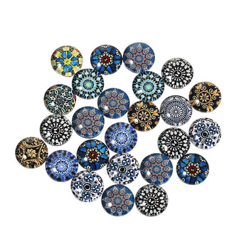 10mm Glass Cabochons Assorted Patterns - 10 Pack