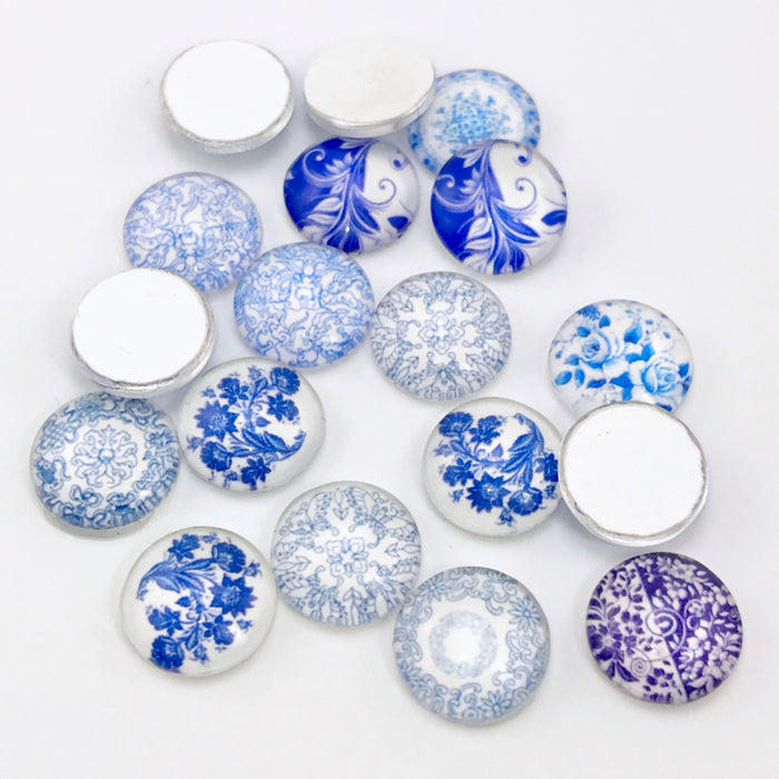 blue and white flower glass cabochons