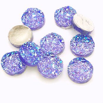 purple sparkly resin cabochons