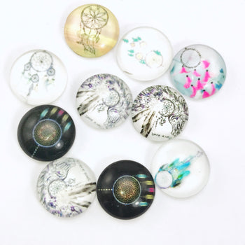 12mm Glass Cabochons Assorted Dream Catcher Pattern - 10 Pack