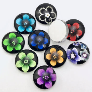 ten 12mm flower pattern jewelry cabochons