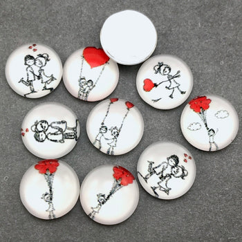 12mm cabochons with couple drawing patterns