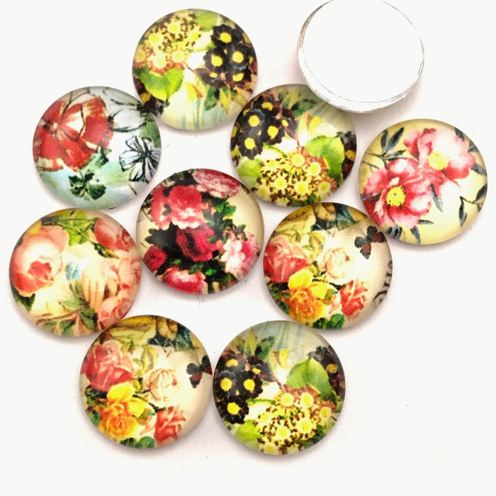 glass cabochons with bright flower pattern