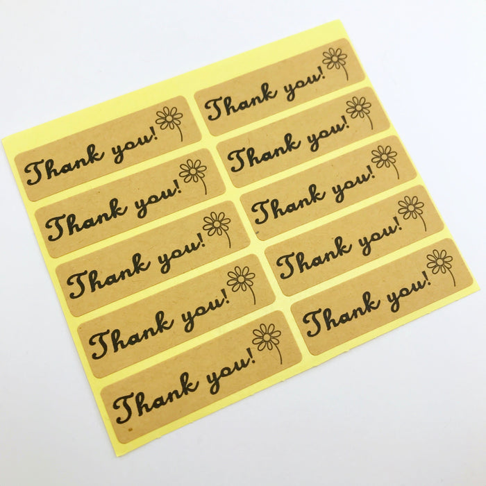 Thank You Craft Paper Stickers, 4.5cm - 50 Pack