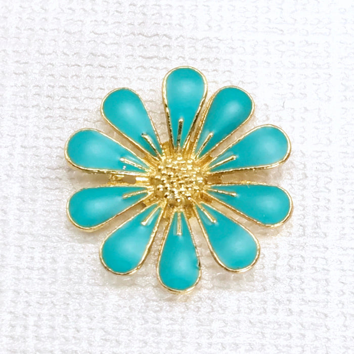 Blue and gold daisy shaped metal embellishment