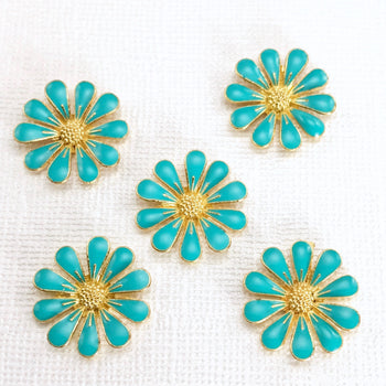 Blue Enamel Daisy Flower Embellishments, 18mm - 5 Pack