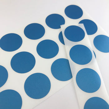 round blue stickers on sticker sheets