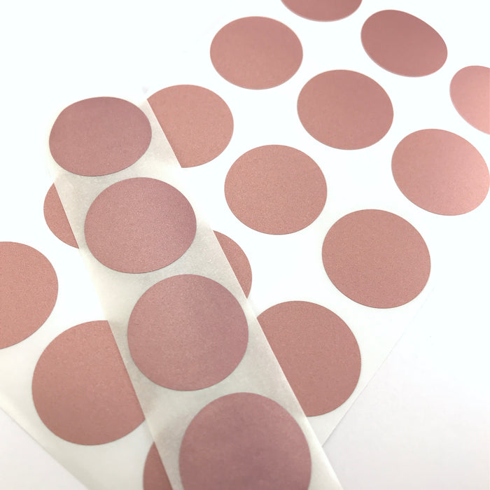 round stickers that are rose gold colour