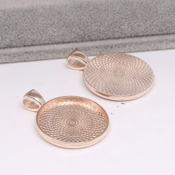 Rose Gold Round Bezel Tray Blanks, 25 mm - 2 pack