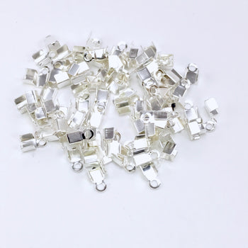 Silver Cord End Crimp Clasps, 4mm - 100 Pack