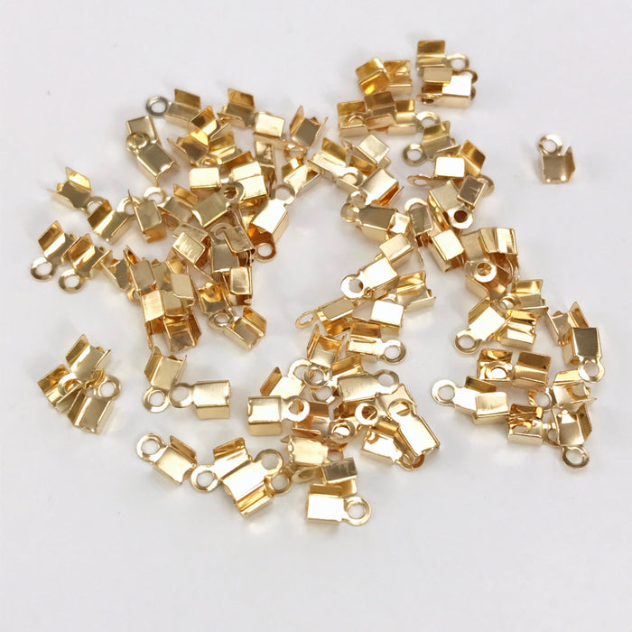 KC Gold Colour Cord End Crimp Clasps, 4mm - 100 Pack