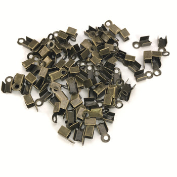 Bronze Colour Cord End Crimp Clasps, 4mm - 100 Pack