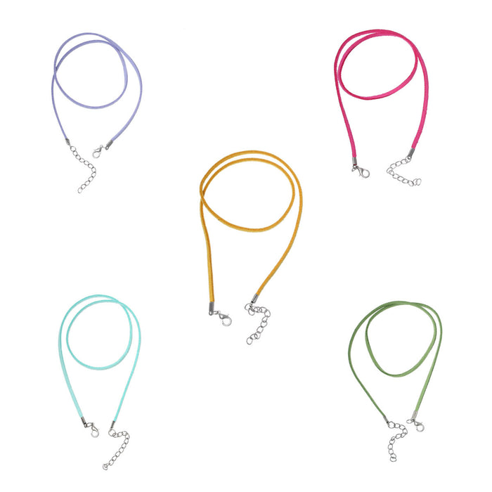 5 suede necklaces in pastel colours
