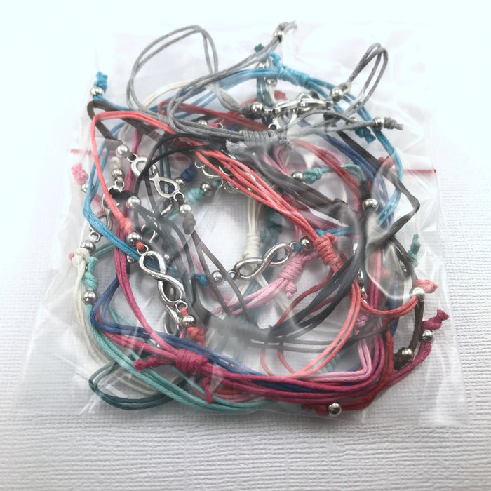 Infinity Sign Adjustable Cord Bracelets - 12 Pack