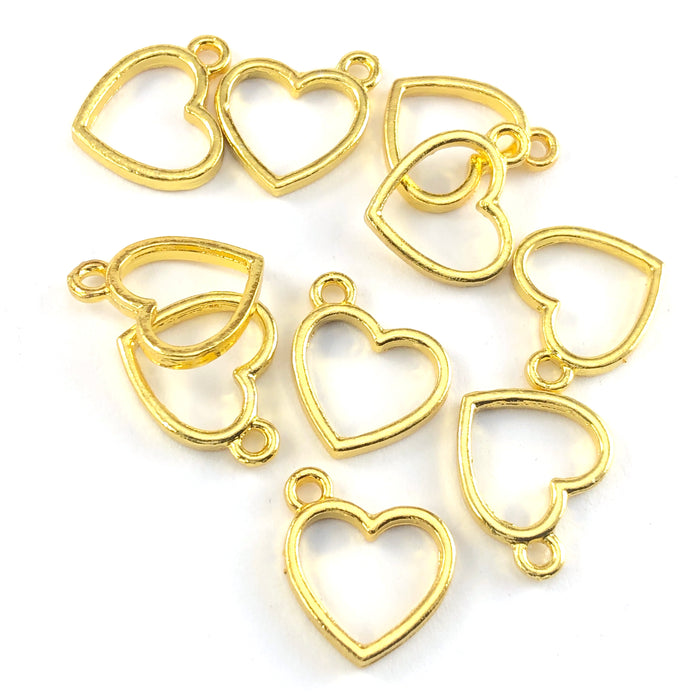 10 gold colour heart shaped jewerly charms