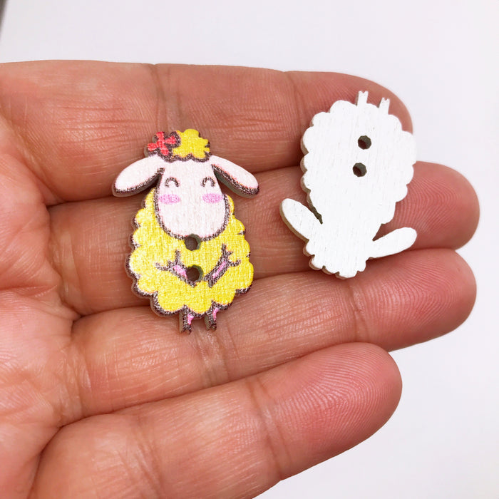 Sheep Wooden Buttons, 28mm - 10 Pack