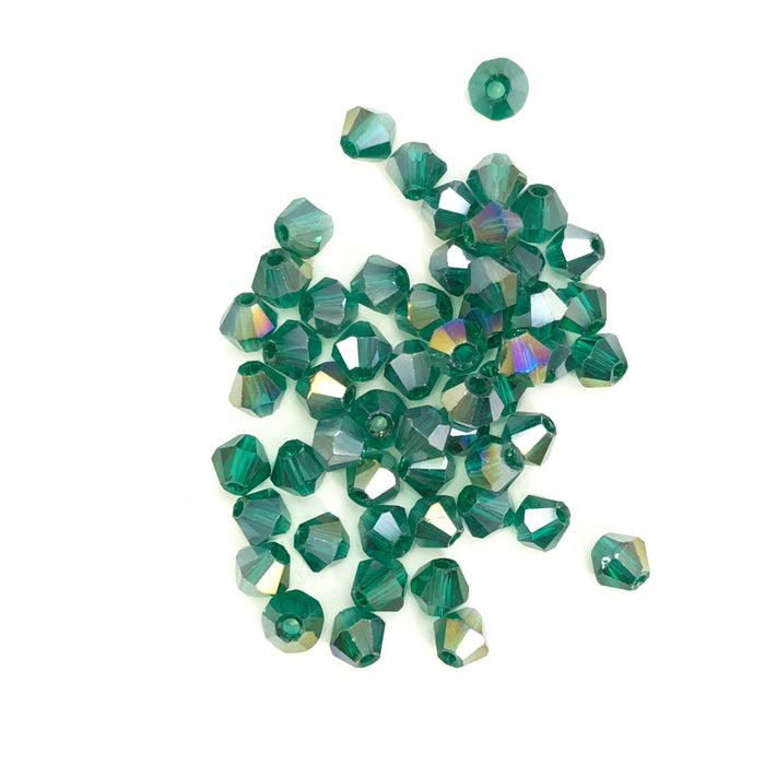 Green AB Glass Bicone Beads, 4mm - 100 Pack