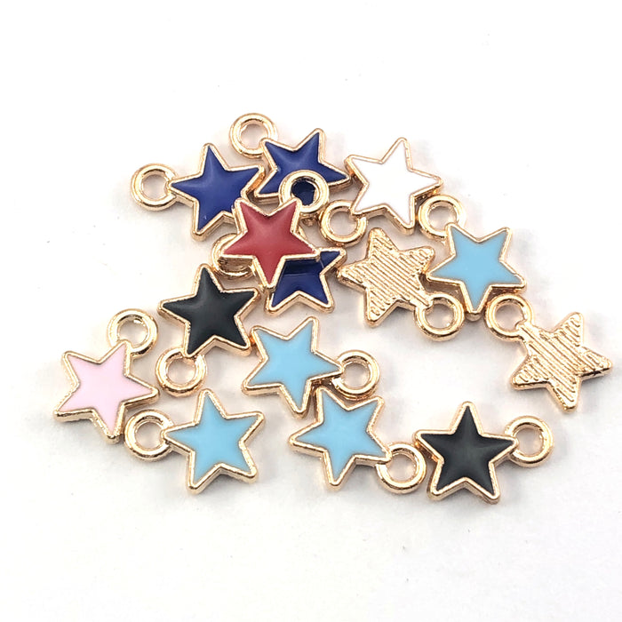 Star shaped jewelry charms in mixed colours