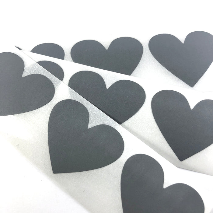 gray heart shaped stickers